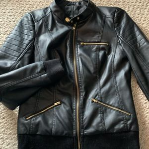 """Guess """"Leather"""" Bomber Jacket size Small"""